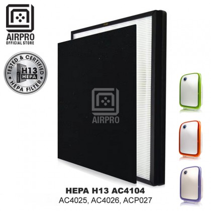 AIRPRO Philips AC4104 Replacement Air Purifier Filter HEPA H13 + Activated Carbon Pre-Filter for AC4025, AC4026, ACP027