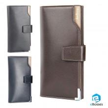 Men's Black Casual Korean Long Paragraph Leather Wallet