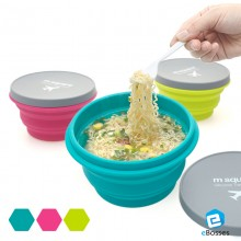 1 SET 3 units of M SQUARE Outdoor Silicone Bowl Cup Picnic Bowl Creative Travel Bowl