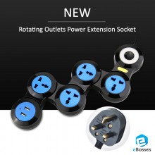 4 / 5 Rotating Outlets Power UK Extension Socket with 2 USB Ports