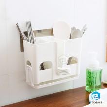 3 Compartments Kitchen Spoon Chopsticks Holder Basket Cage Organizer
