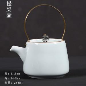 Portable Travel Kungfu Tea Set Porcelain Teapot & 4 Teacups & Bamboo Tray & Storage Bag (Black)