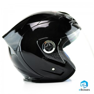 Space Crown Helmet Phoenix 5 with Adjustable Functional Air Vents Shield, Gloss Black (PN-01)